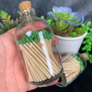 🆕 Apothecary Matchstick Glass Jar Bottle Green 🌵